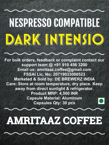 Nespresso Compatible Coffee Capsules by AMRITAAZ COFFEE - DARK INTENSIO