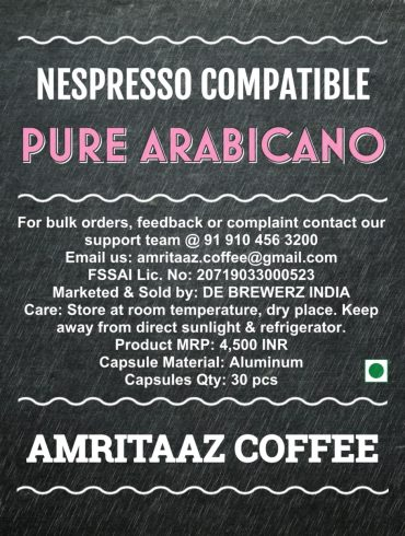 Nespresso Compatible Coffee Capsules by AMRITAAZ COFFEE - PURE ARABICANO