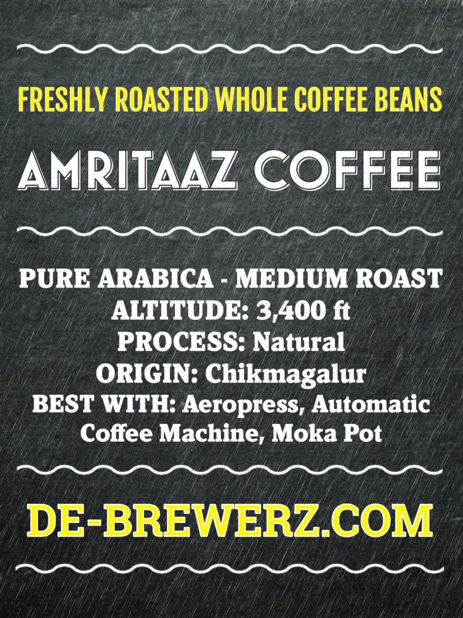 AMRITAAZ COFFEE - Pure Arabica Medium Roast Whole Coffee Beans- 450 gms