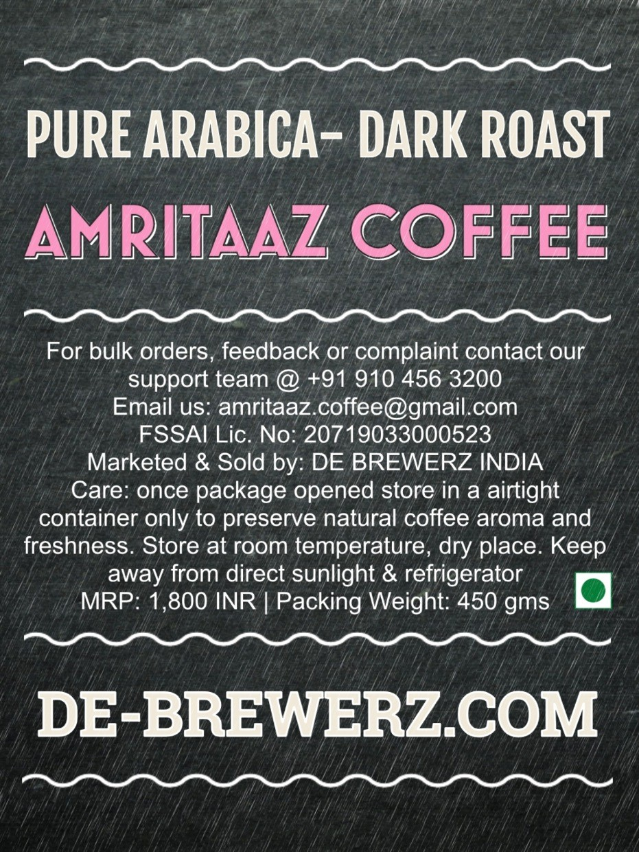 AMRITAAZ COFFEE - Pure Arabica Dark Roast Whole Coffee Beans- 450 gms