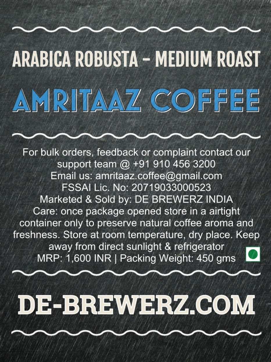 AMRITAAZ COFFEE - Arabica Robusta Mix Blend (70:30) Roasted Whole Coffee Beans- 450 gms